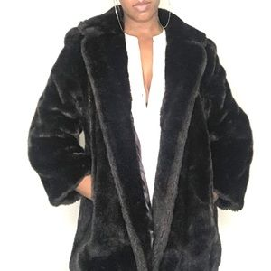 Luscious Vintage Faux Fur Wide Lapel Coat